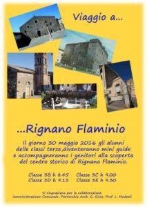 Poster del progetto con edifici storici di Rignano Flaminio